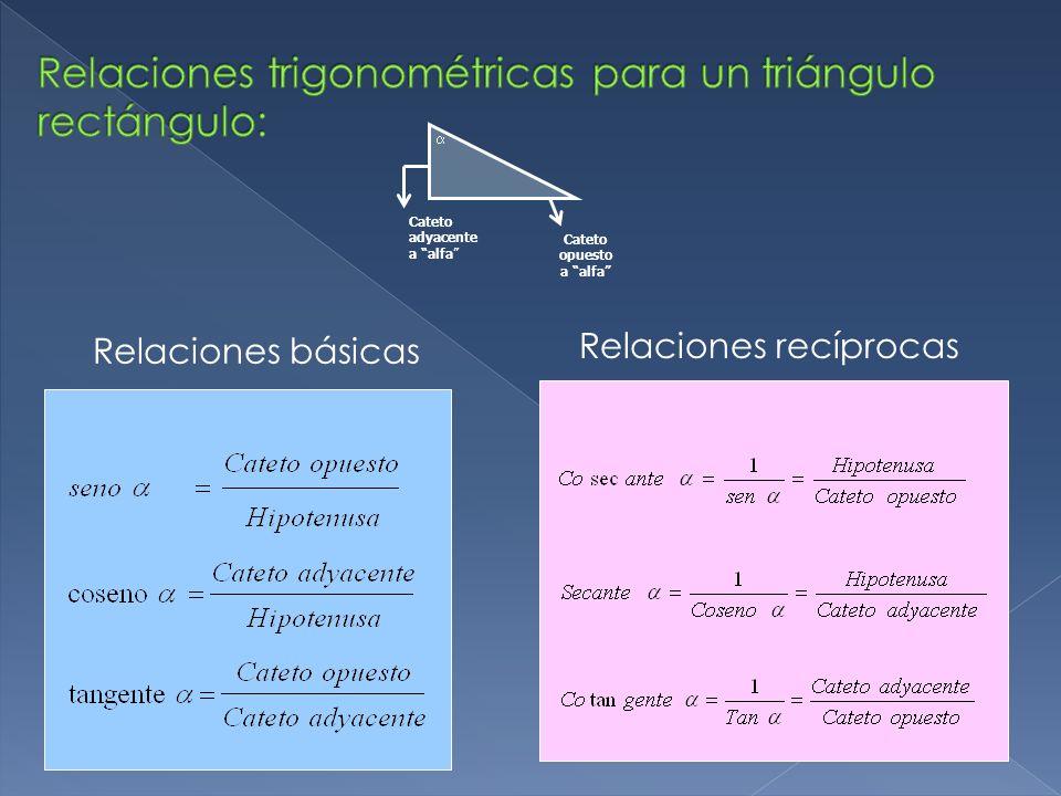 Relaciones trigonométricas para un triángulo rectángulo: