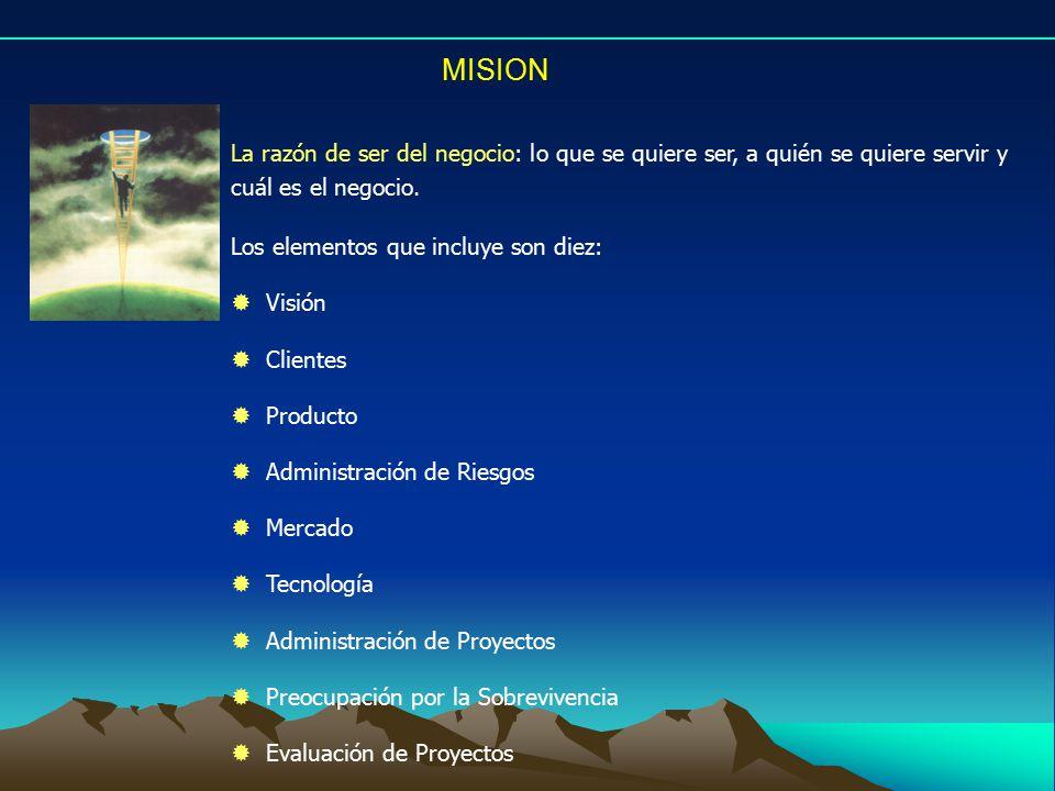 MISION La razón de ser del negocio: lo que se quiere ser, a quién se quiere servir y cuál es el negocio.
