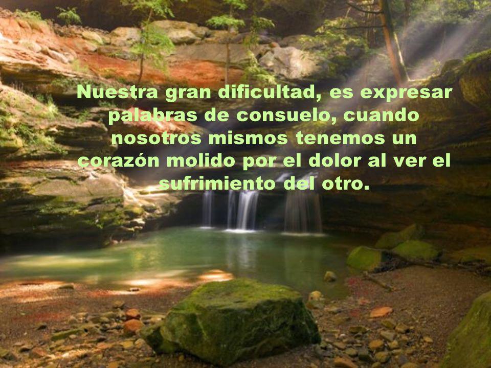 Nuestra gran dificultad, es expresar palabras de consuelo, cuando nosotros mismos tenemos un corazón molido por el dolor al ver el sufrimiento del otro.