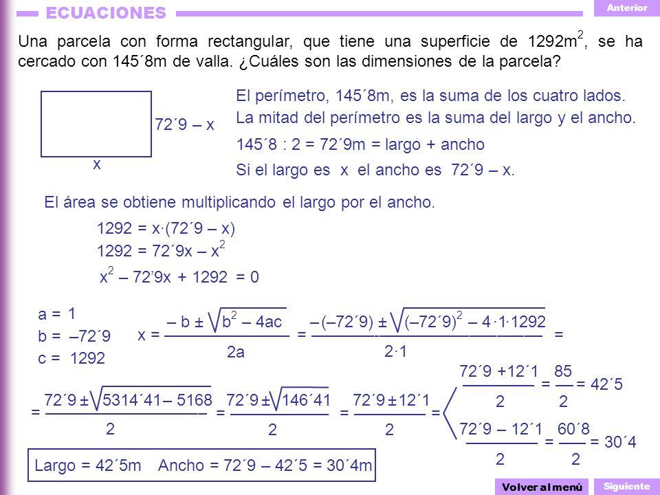 El perímetro, 145´8m, es la suma de los cuatro lados.