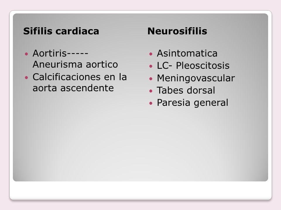 Sifilis cardiaca Neurosifilis. Aortiris----- Aneurisma aortico. Calcificaciones en la aorta ascendente.