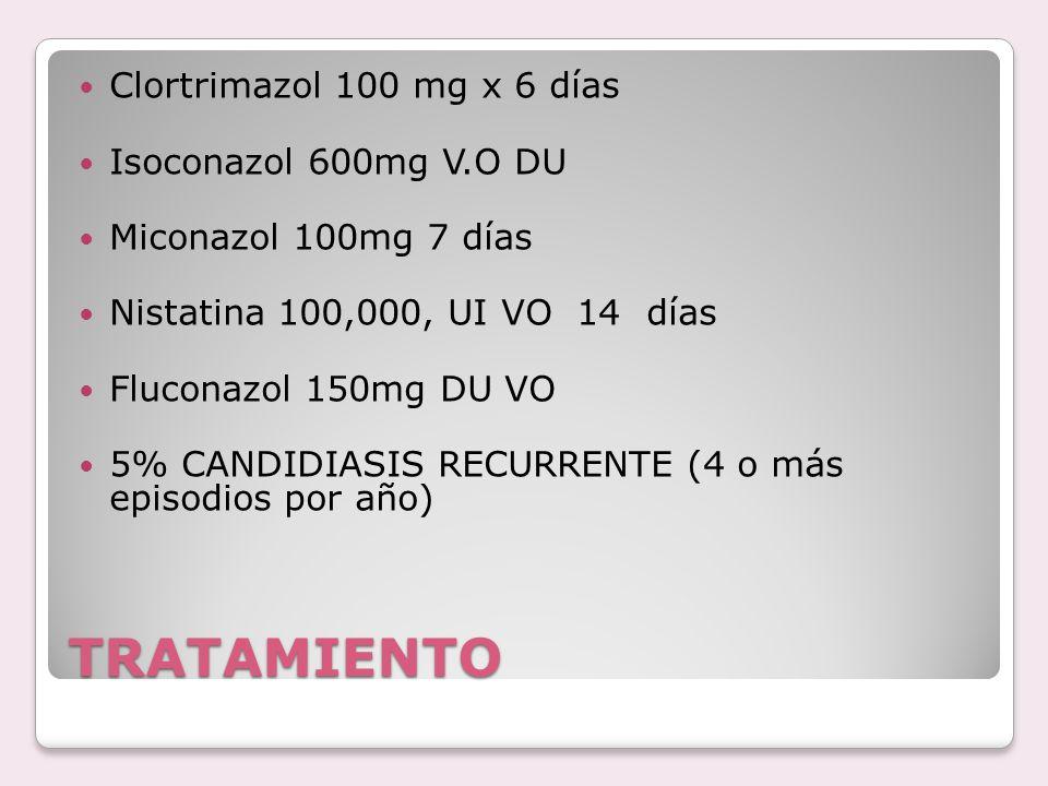 TRATAMIENTO Clortrimazol 100 mg x 6 días Isoconazol 600mg V.O DU