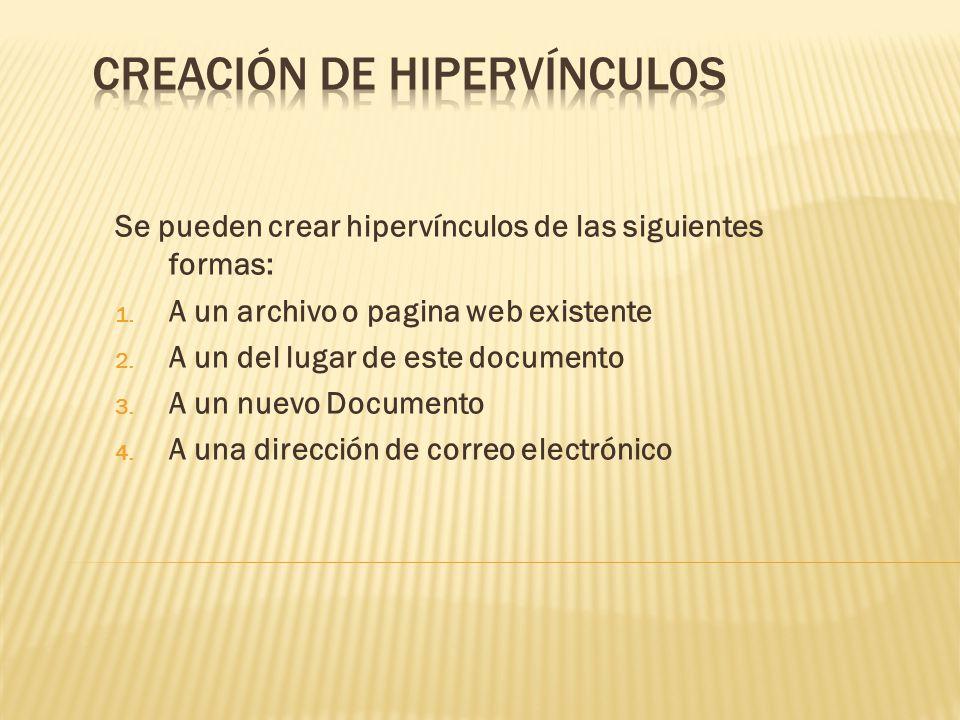 Creación de hipervínculos