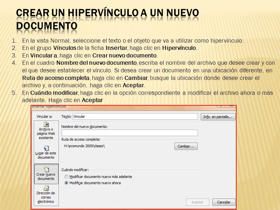 Crear un hipervínculo a un nuevo Documento