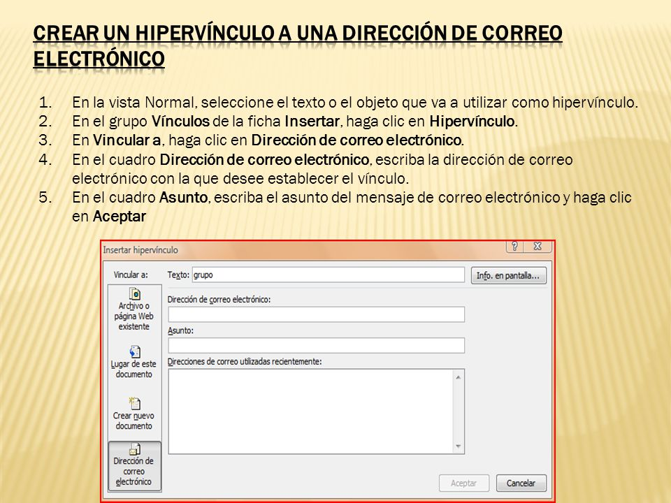 Crear un hipervínculo a una dirección de correo electrónico