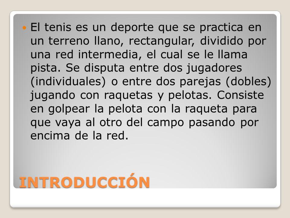 El tenis es un deporte que se practica en un terreno llano, rectangular, dividido por una red intermedia, el cual se le llama pista. Se disputa entre dos jugadores (individuales) o entre dos parejas (dobles) jugando con raquetas y pelotas. Consiste en golpear la pelota con la raqueta para que vaya al otro del campo pasando por encima de la red.