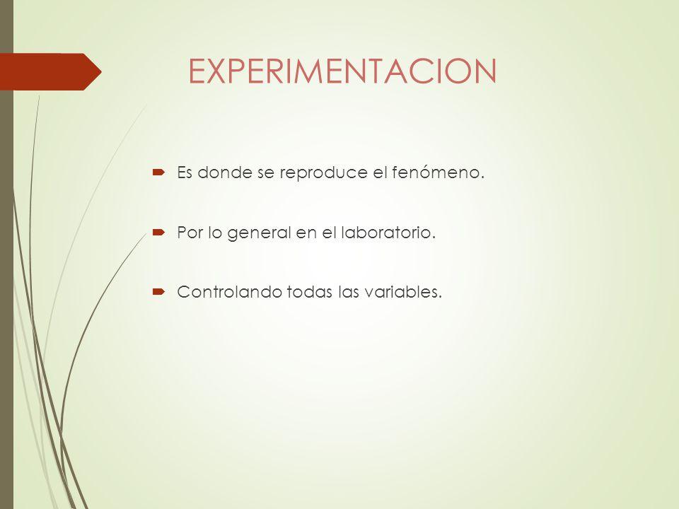 EXPERIMENTACION Es donde se reproduce el fenómeno.