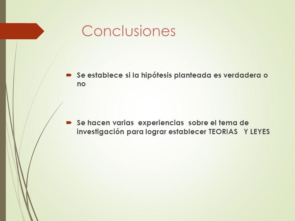 Conclusiones Se establece si la hipótesis planteada es verdadera o no
