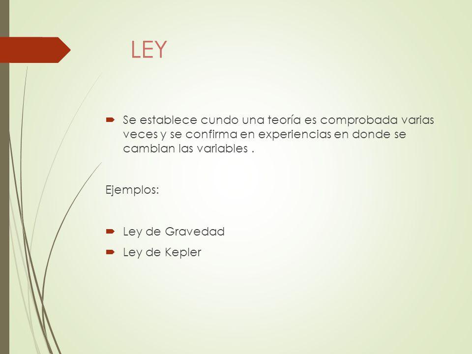 LEY Se establece cundo una teoría es comprobada varias veces y se confirma en experiencias en donde se cambian las variables .