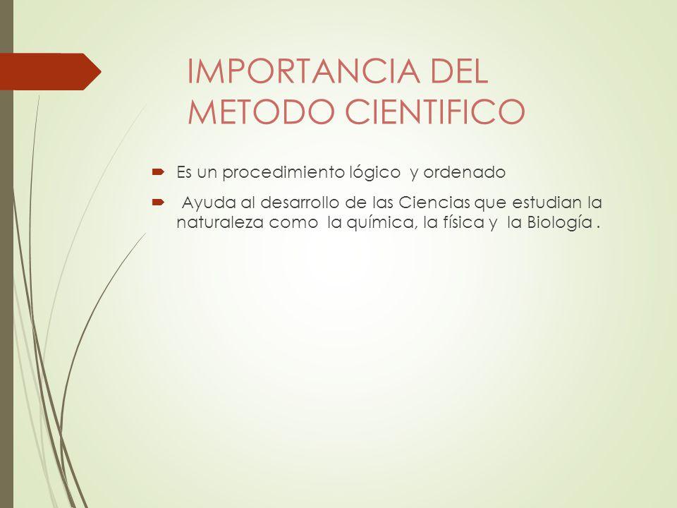 IMPORTANCIA DEL METODO CIENTIFICO