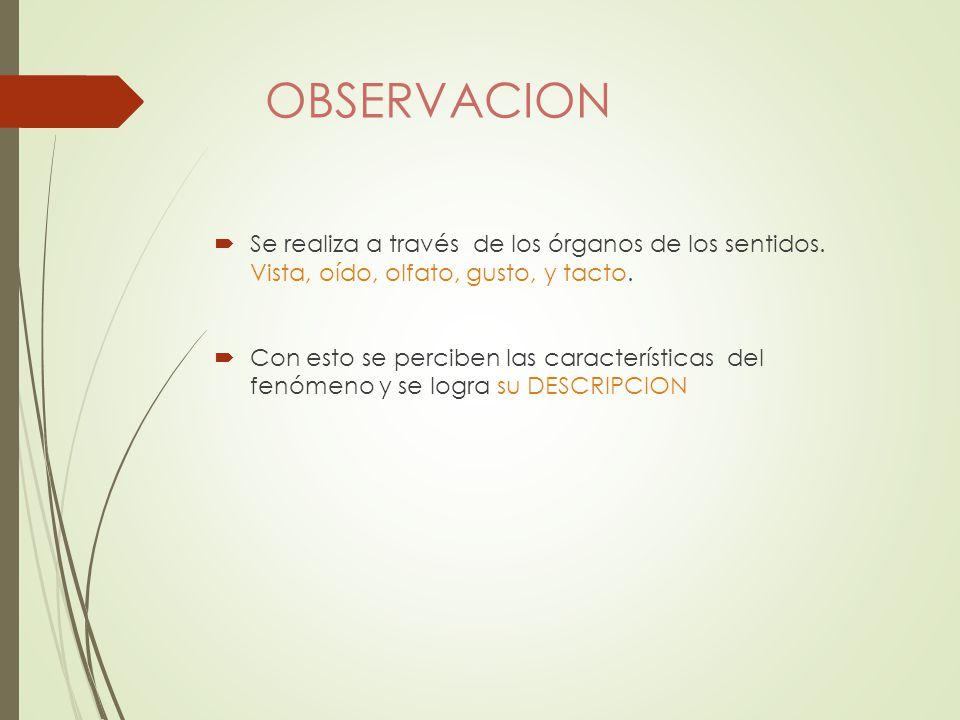 OBSERVACION Se realiza a través de los órganos de los sentidos. Vista, oído, olfato, gusto, y tacto.