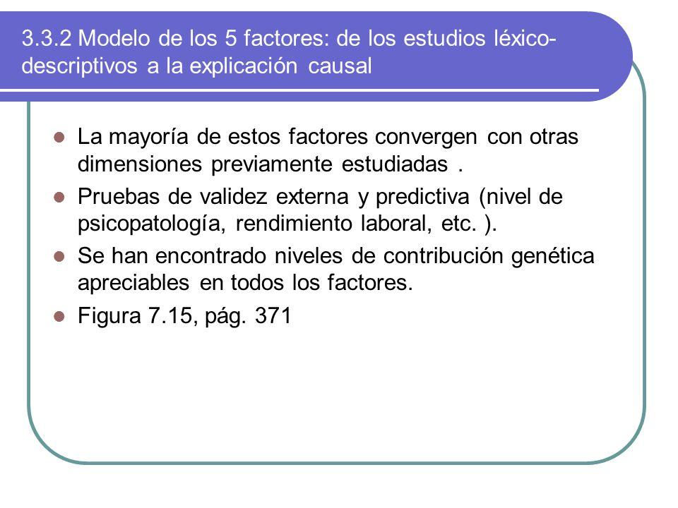 3.3.2 Modelo de los 5 factores: de los estudios léxico-descriptivos a la explicación causal