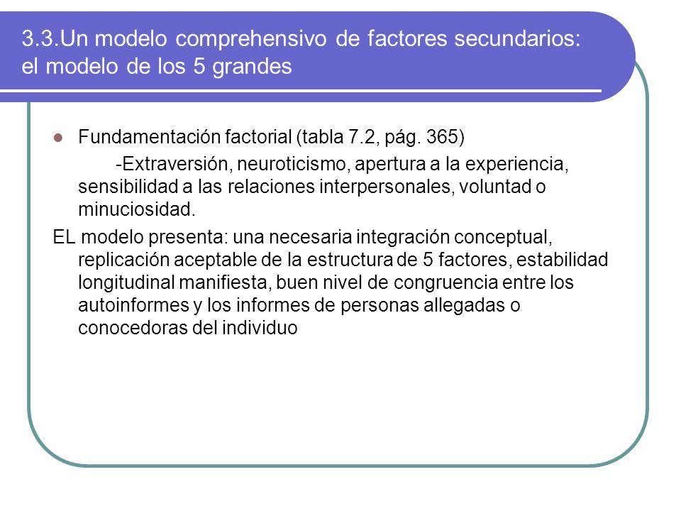 3.3.Un modelo comprehensivo de factores secundarios: el modelo de los 5 grandes