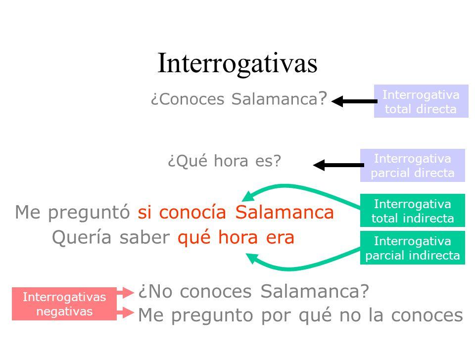Interrogativas Me preguntó si conocía Salamanca