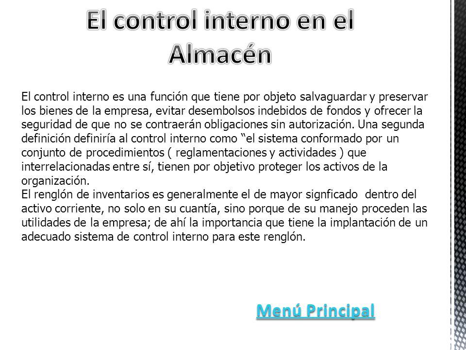 El control interno en el Almacén