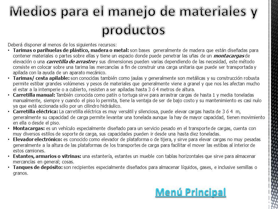 Medios para el manejo de materiales y productos