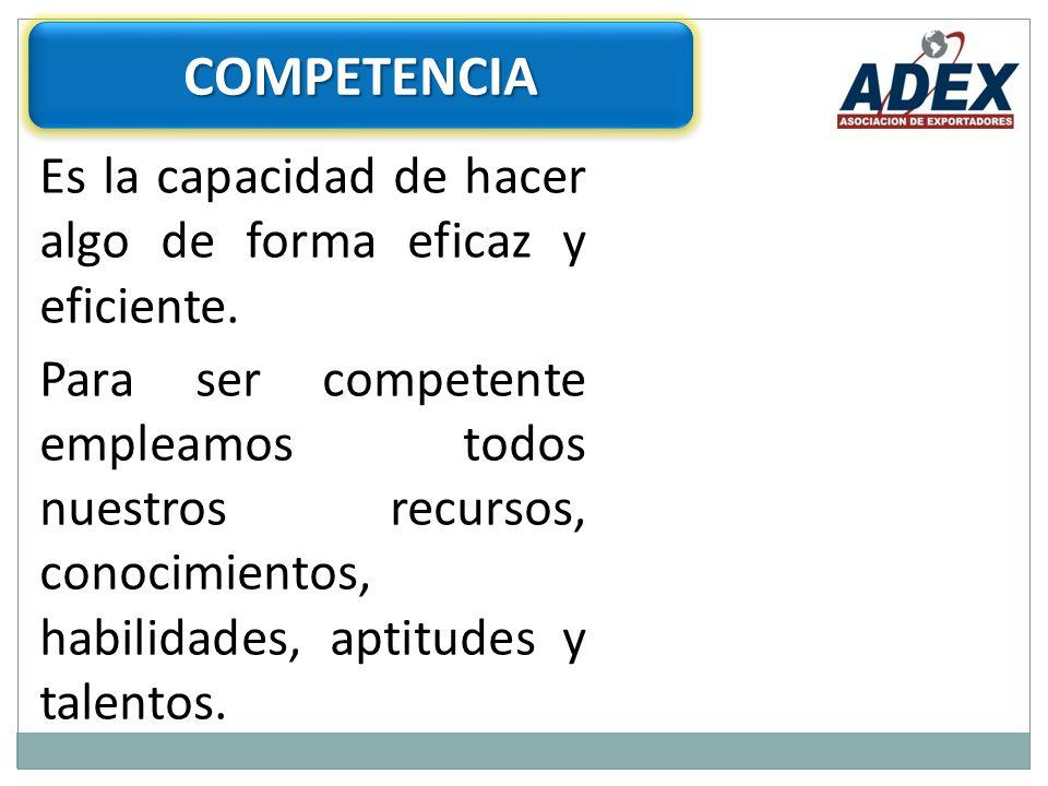 COMPETENCIA Es la capacidad de hacer algo de forma eficaz y eficiente.