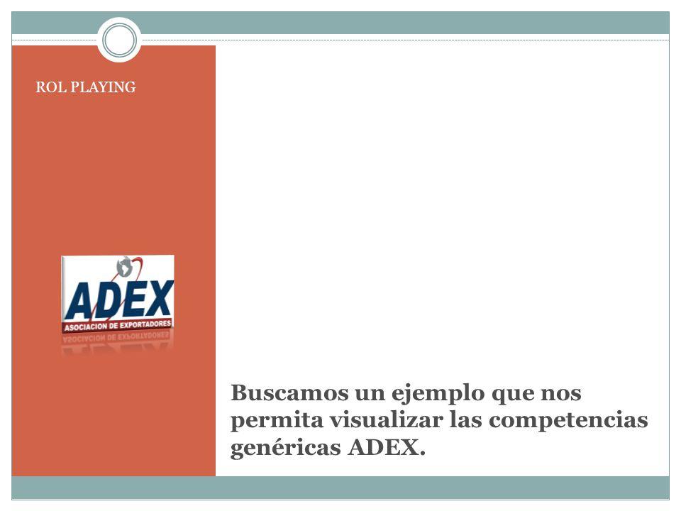 ROL PLAYING Buscamos un ejemplo que nos permita visualizar las competencias genéricas ADEX.