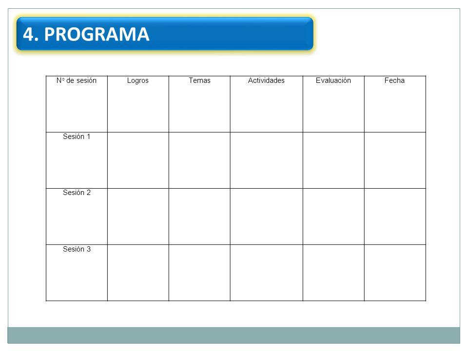 4. PROGRAMA 41 N° de sesión Logros Temas Actividades Evaluación Fecha