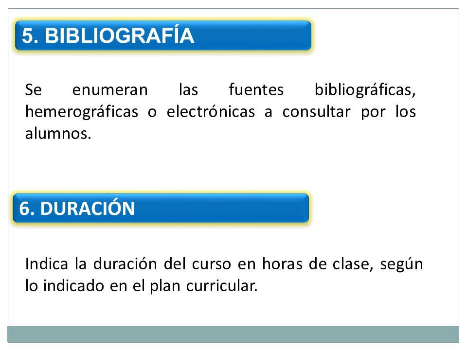 5. BIBLIOGRAFÍA 6. DURACIÓN
