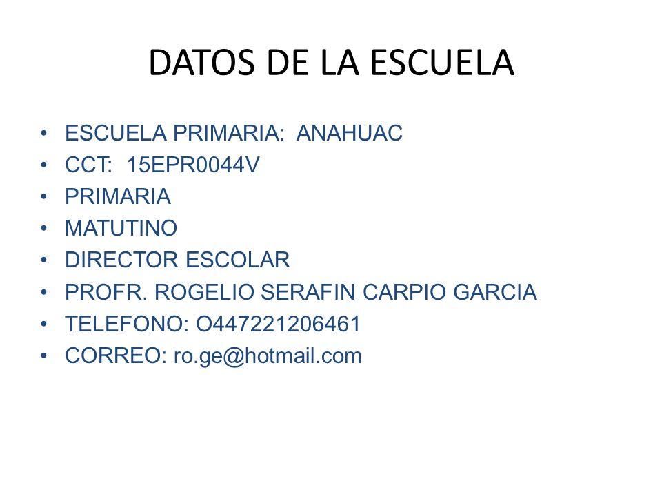 datos de la escuela escuela primaria anahuac cct