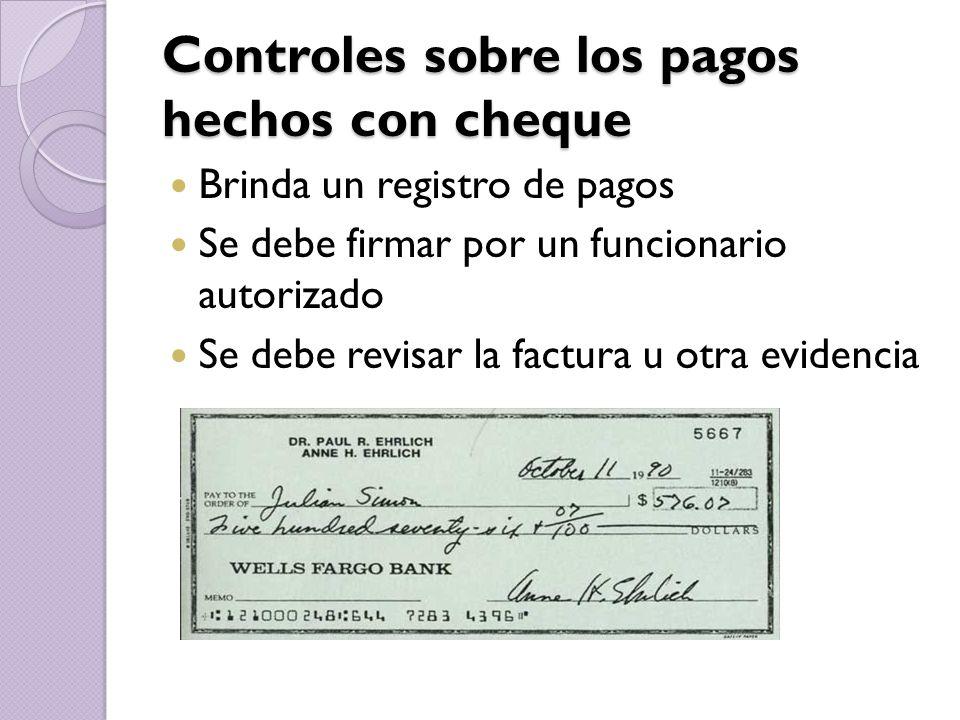 Controles sobre los pagos hechos con cheque