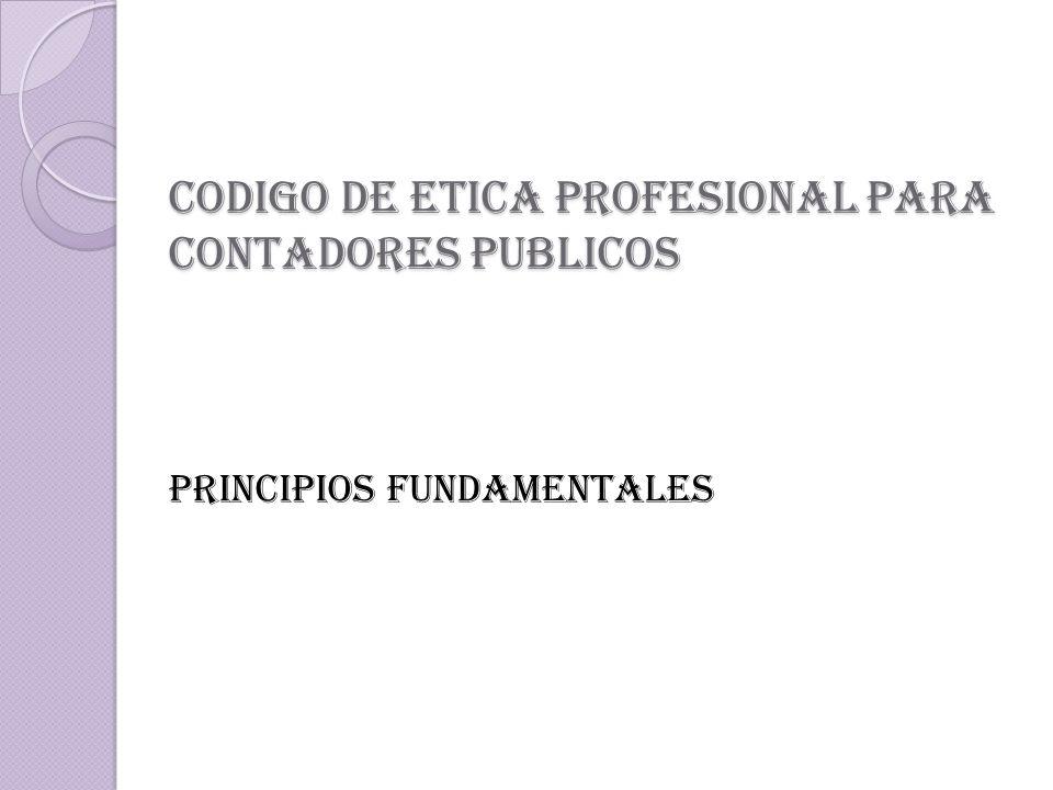 CODIGO DE ETICA PROFESIONAL PARA CONTADORES PUBLICOS