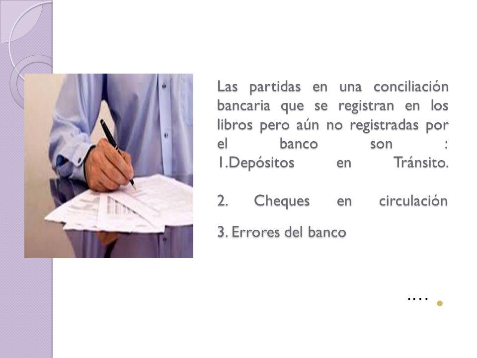 Las partidas en una conciliación bancaria que se registran en los libros pero aún no registradas por el banco son : 1.Depósitos en Tránsito. 2. Cheques en circulación 3. Errores del banco
