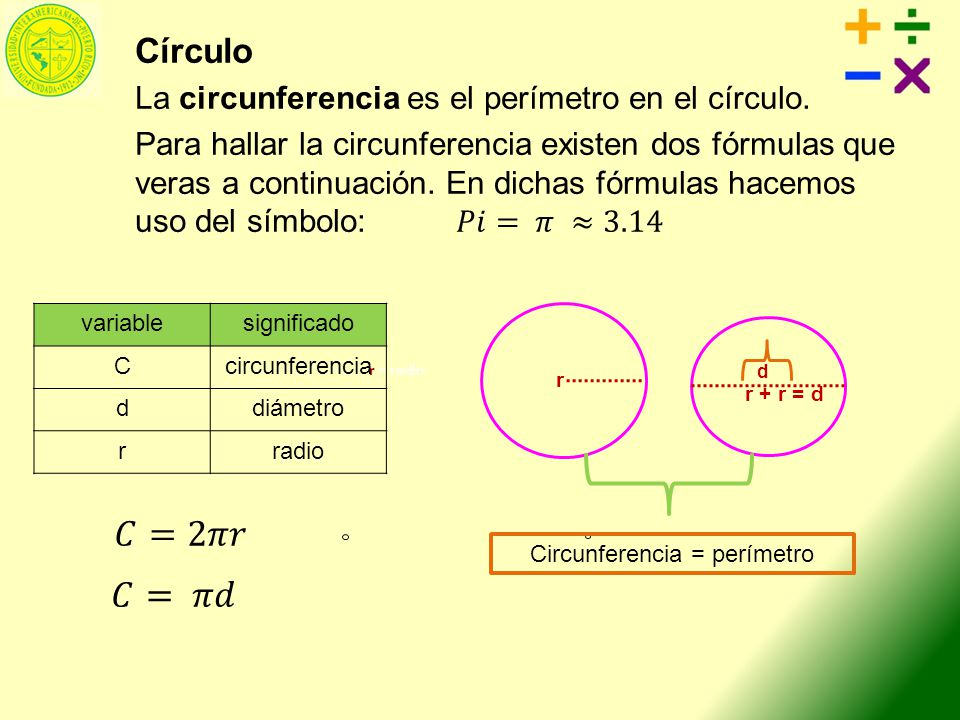 Circunferencia = perímetro