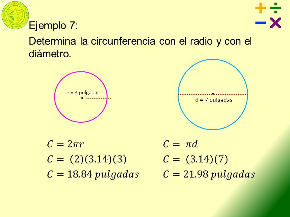 Ejemplo 7: Determina la circunferencia con el radio y con el diámetro.