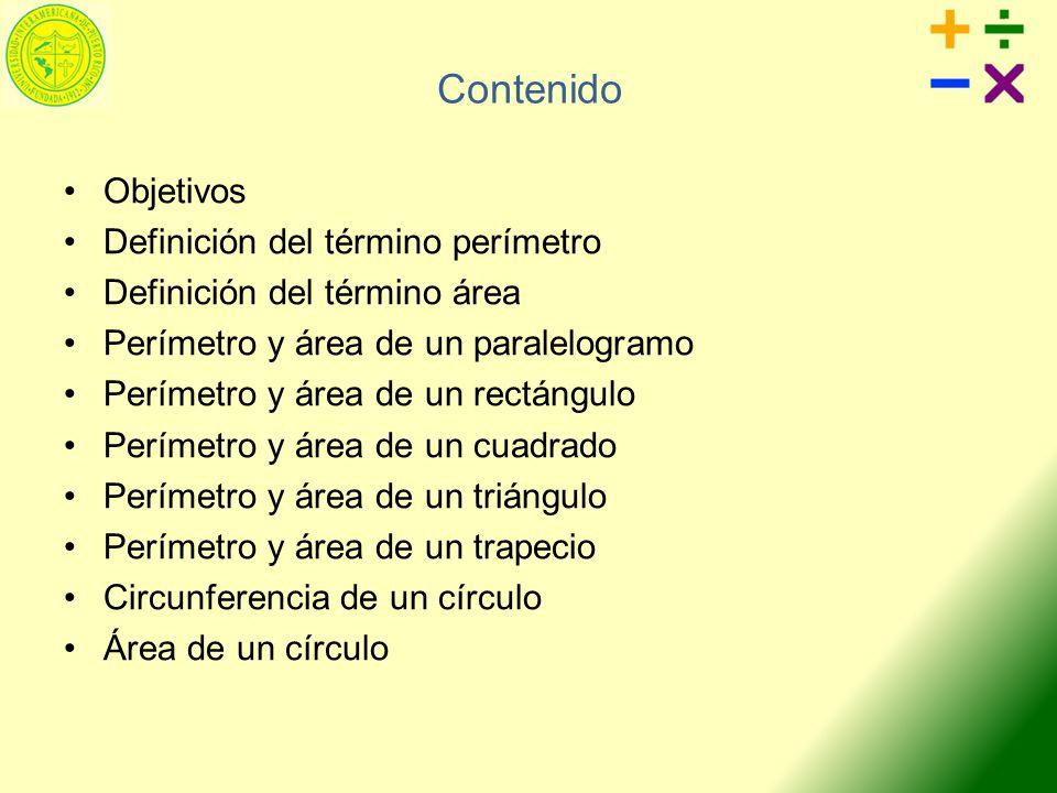 Contenido Objetivos Definición del término perímetro