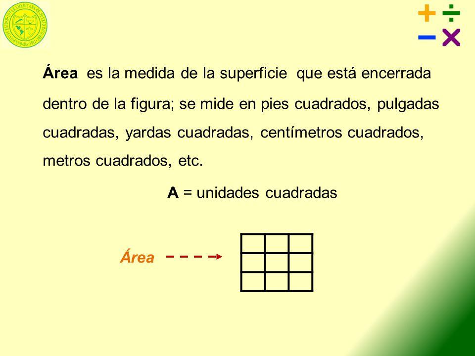 Área es la medida de la superficie que está encerrada dentro de la figura; se mide en pies cuadrados, pulgadas cuadradas, yardas cuadradas, centímetros cuadrados, metros cuadrados, etc.