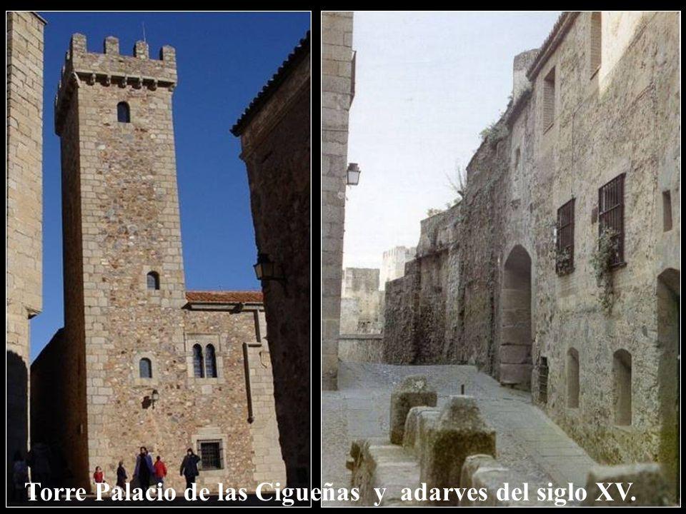 Torre Palacio de las Cigueñas y adarves del siglo XV.