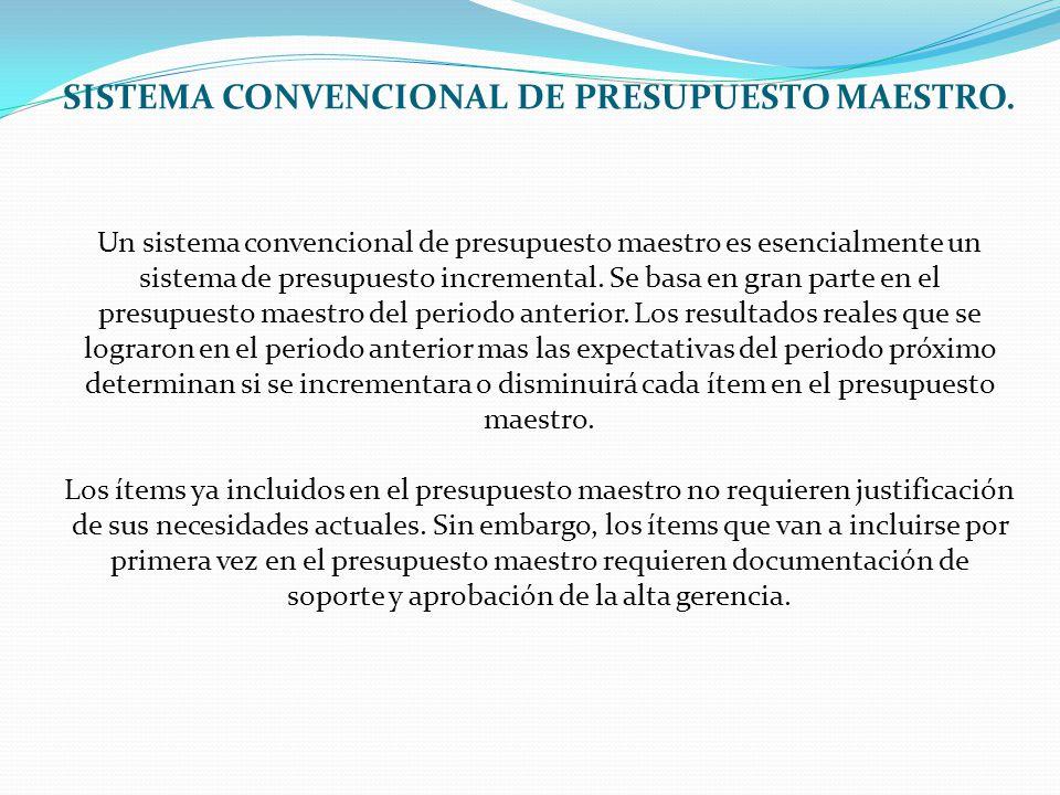 SISTEMA CONVENCIONAL DE PRESUPUESTO MAESTRO
