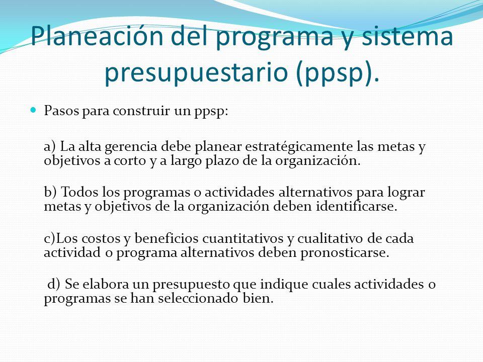 Planeación del programa y sistema presupuestario (ppsp).