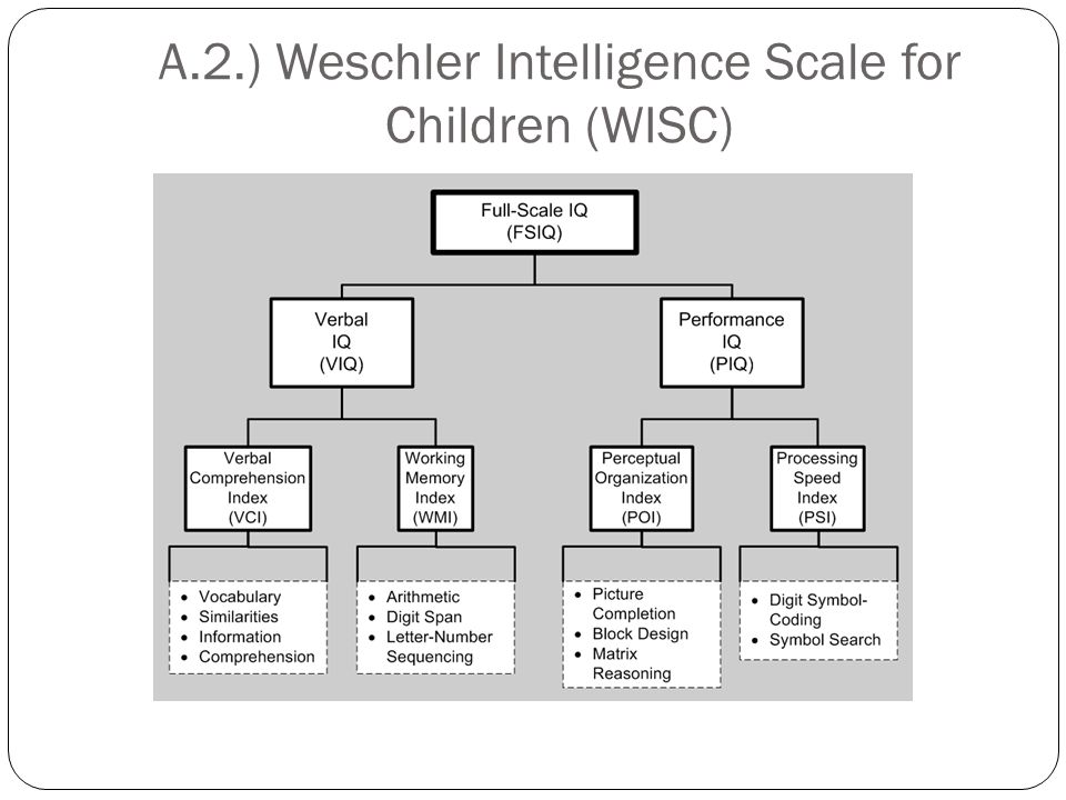 A.2.) Weschler Intelligence Scale for Children (WISC)