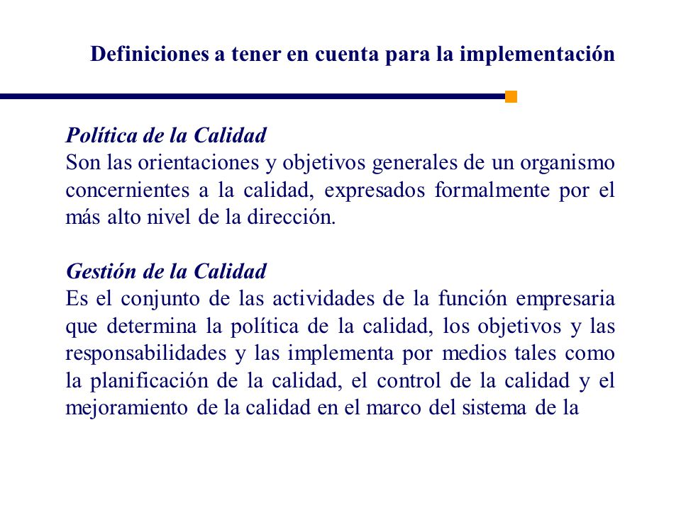 Definiciones a tener en cuenta para la implementación