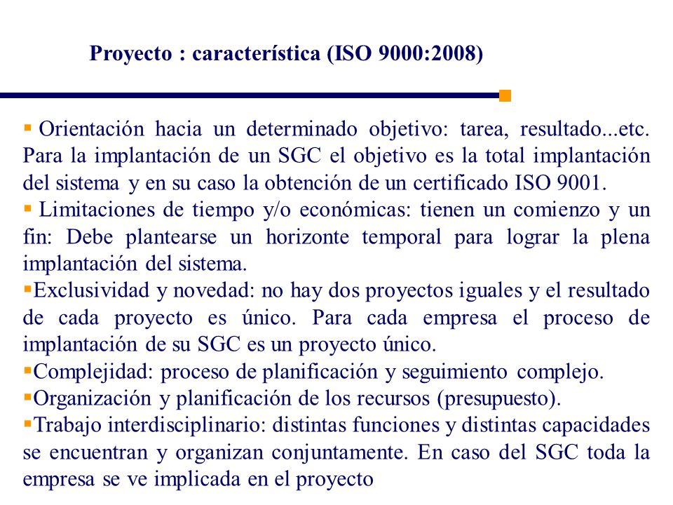 Proyecto : característica (ISO 9000:2008)
