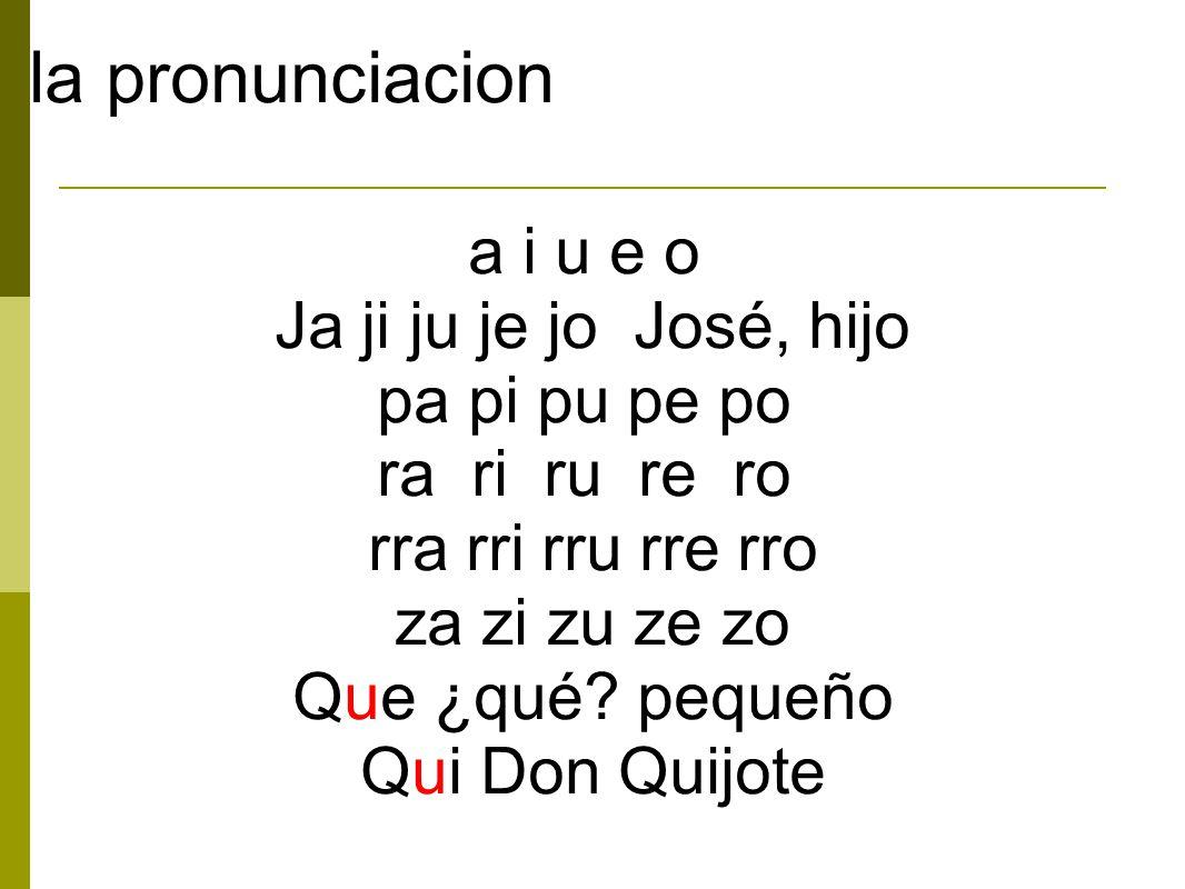 la pronunciacion a i u e o Ja ji ju je jo José, hijo pa pi pu pe po