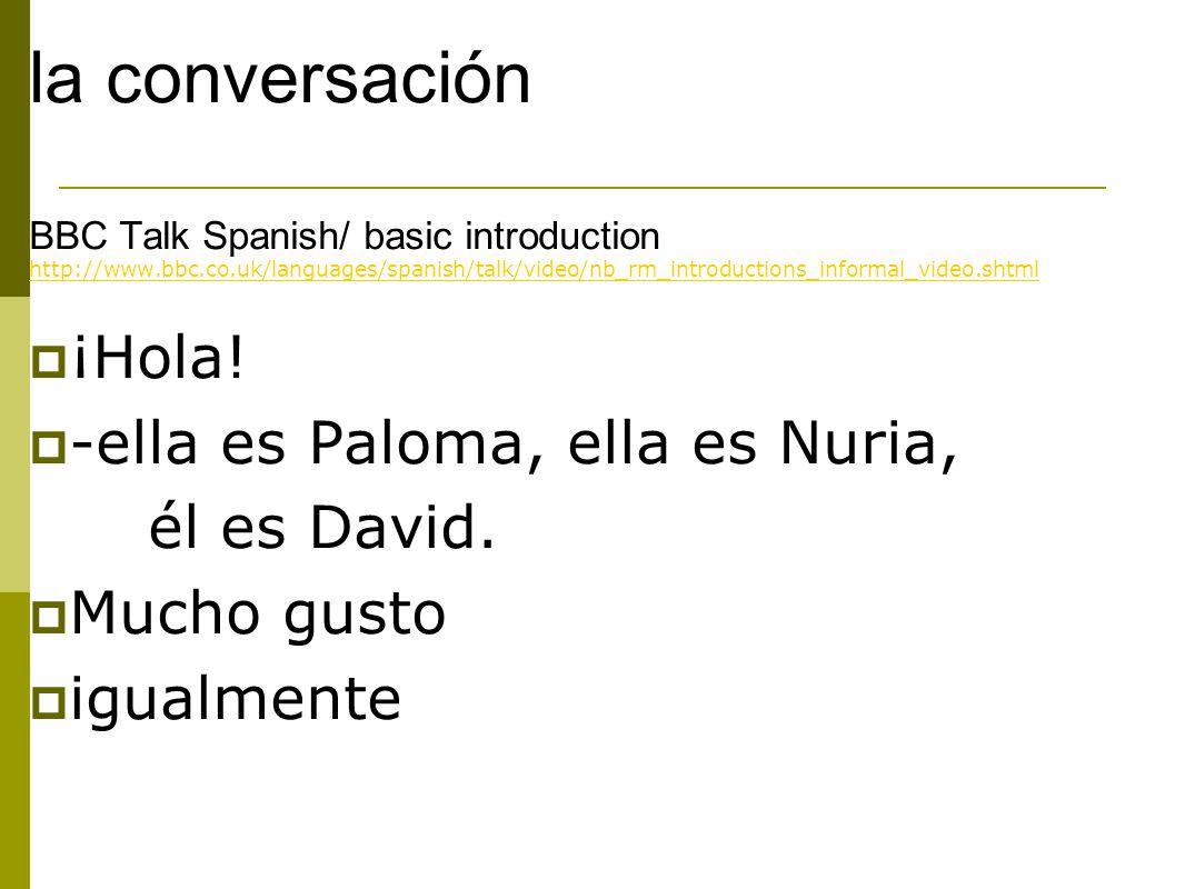 la conversación ¡Hola! -ella es Paloma, ella es Nuria, él es David.