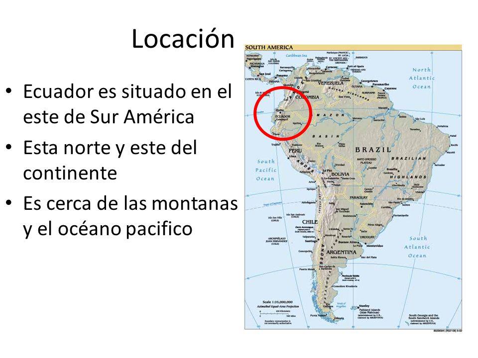 Locación Ecuador es situado en el este de Sur América