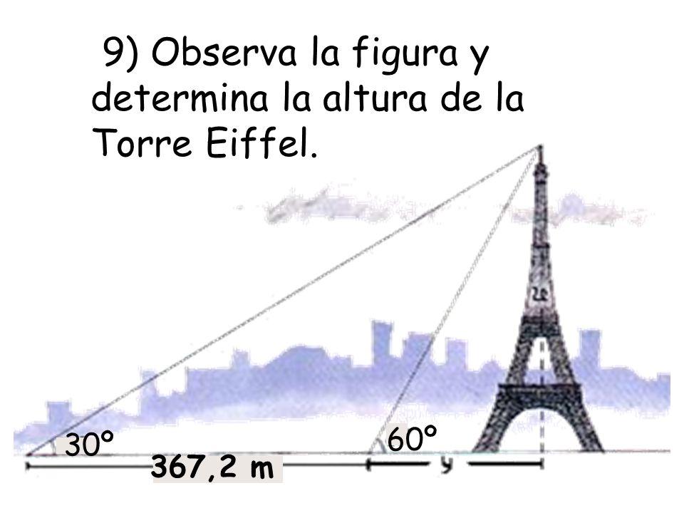 9) Observa la figura y determina la altura de la Torre Eiffel.