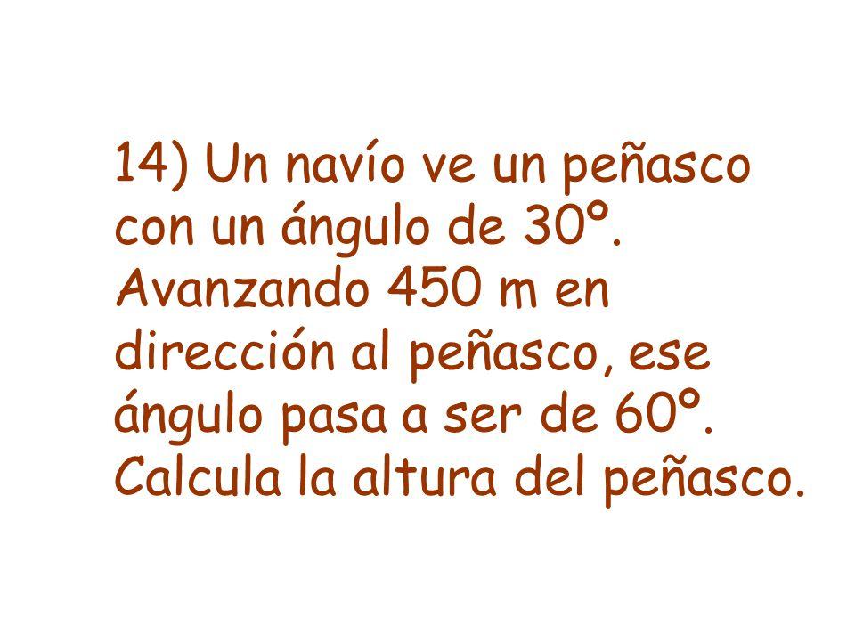14) Un navío ve un peñasco con un ángulo de 30º