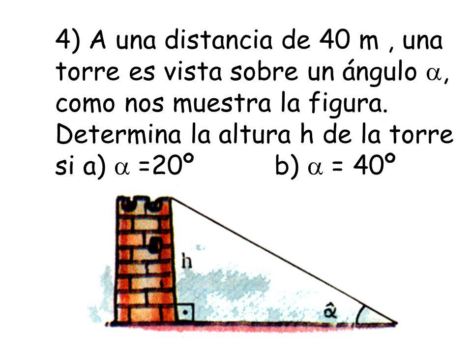 4) A una distancia de 40 m , una torre es vista sobre un ángulo , como nos muestra la figura.
