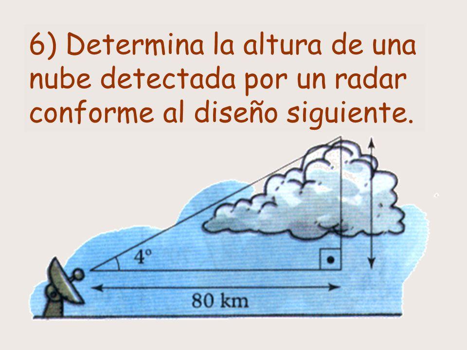 6) Determina la altura de una nube detectada por un radar conforme al diseño siguiente.
