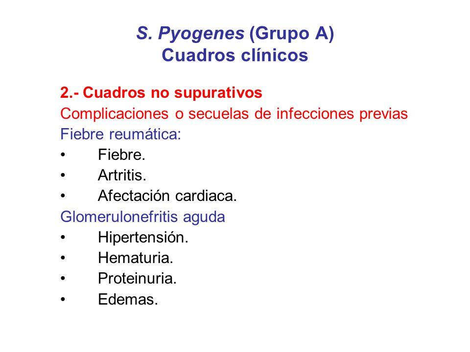 S. Pyogenes (Grupo A) Cuadros clínicos