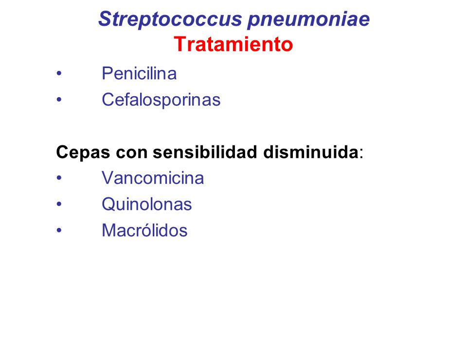 Streptococcus pneumoniae Tratamiento