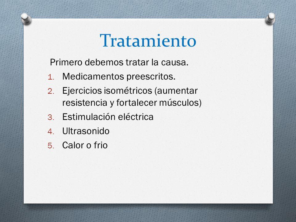 Tratamiento Primero debemos tratar la causa. Medicamentos preescritos.