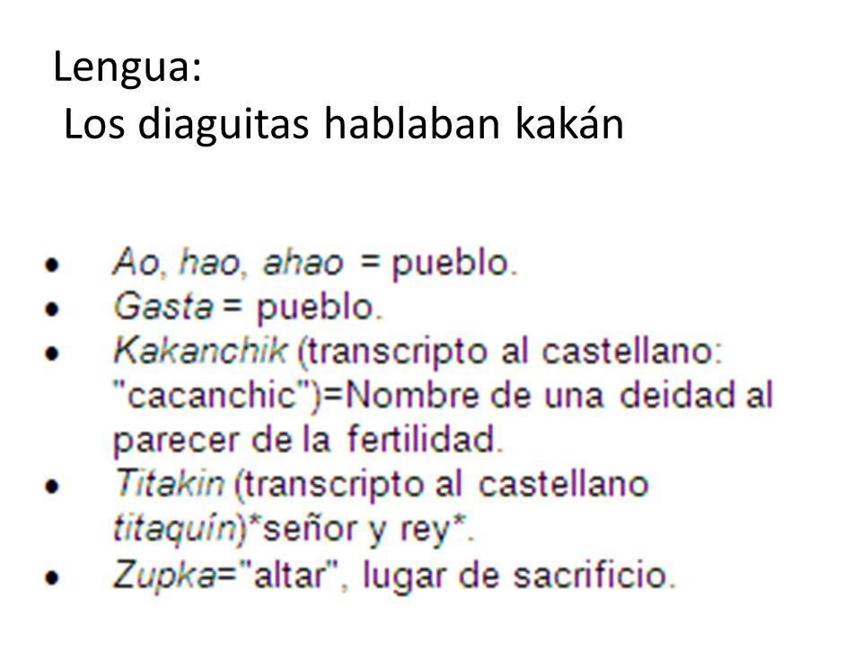 Lengua: Los diaguitas hablaban kakán