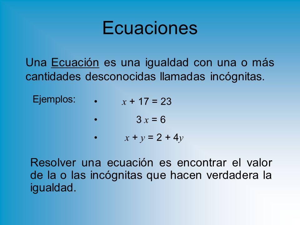 Ecuaciones Una Ecuación es una igualdad con una o más cantidades desconocidas llamadas incógnitas. Ejemplos: